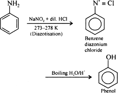 How is phenol obtained from aniline? - Zigya