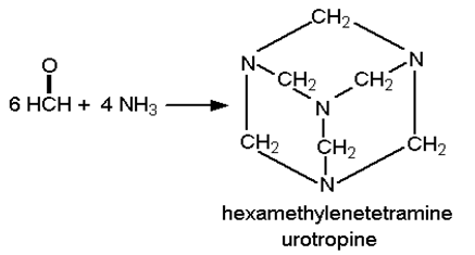 Methanal(formaldehyde) is treated with ammonia