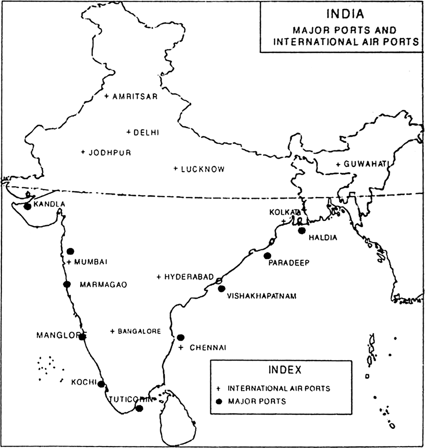 On An Outline Map Of India Show The I Major Ports Ii