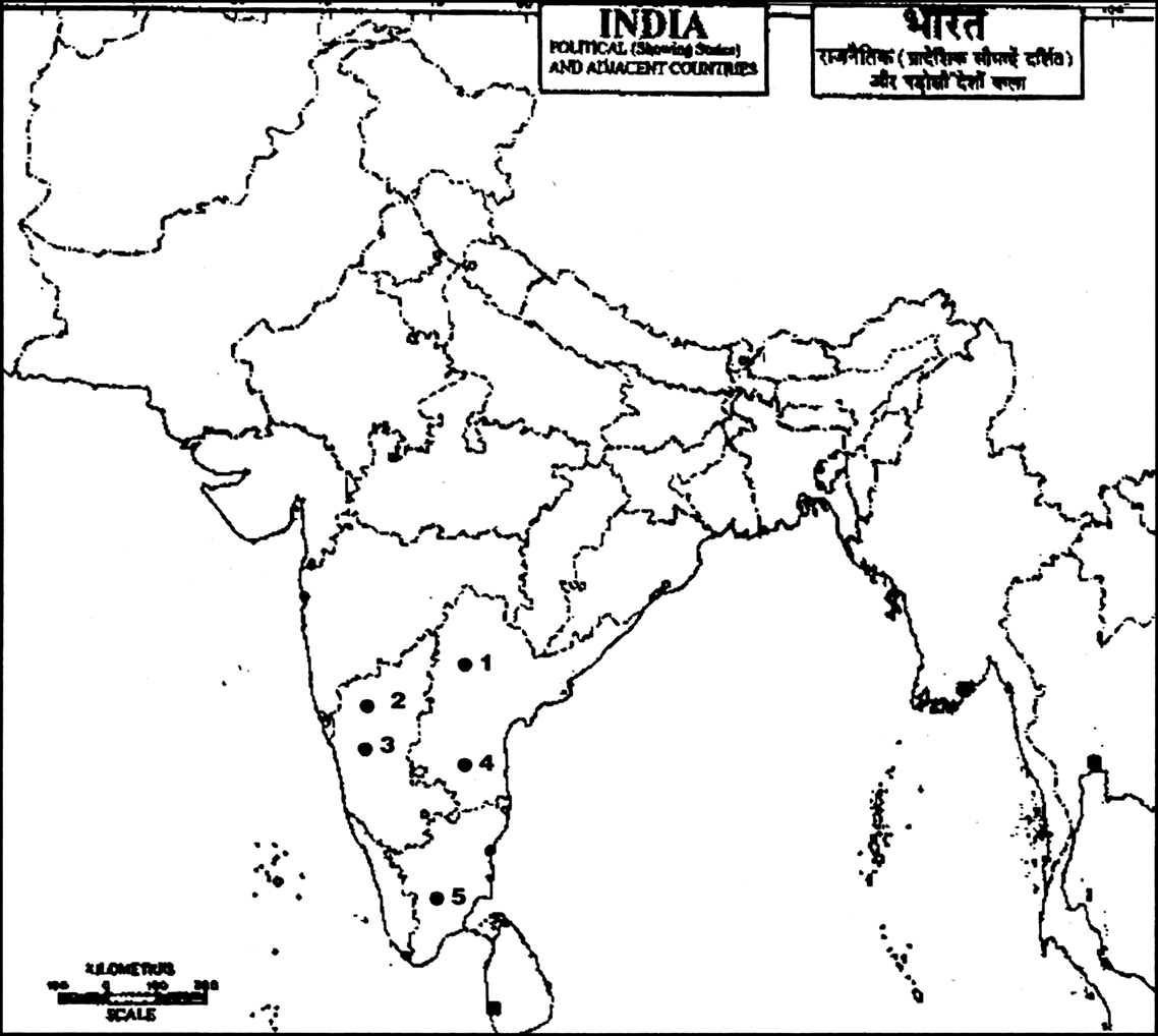 On the given outline map of India 5 places in South India between ...