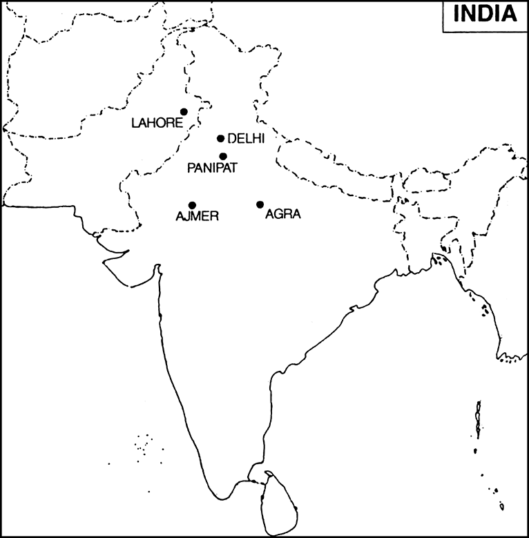On An Outline Map Of India Mark And Name Agra Delhi Lahore Ajmer