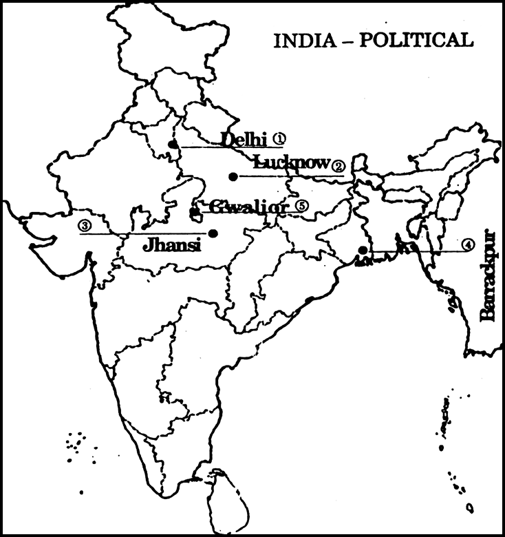 On The Given Political Outline Map Of India, Five Centers