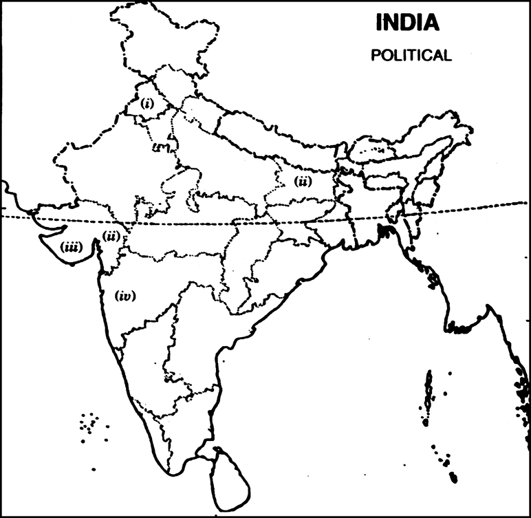 On the given political outline map of India mark and name the ...