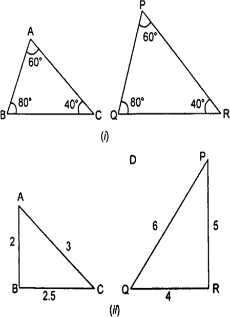 State which pairs of triangles in the given Fig, are similar