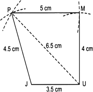 Construct the following quadrilateralquadrilateral jumpju 35 v with centre at p and radius 4 cm draw another arc intersecting the previous arc at m vi join pj pu pm and um ccuart Gallery