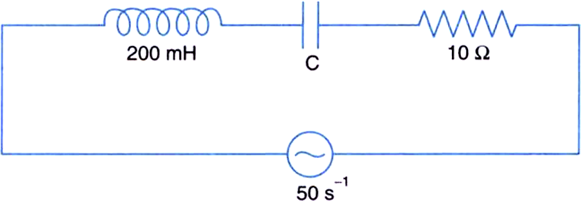 In the following circuit, calculate,(i) the capacitance c of