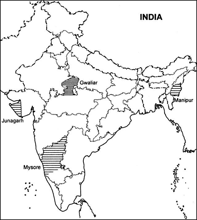 Take a current political map of India showing outlines of states