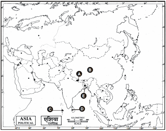 Political Outline Map Of Asia.In The Given Political Outline Map Of South Asia Five Countries