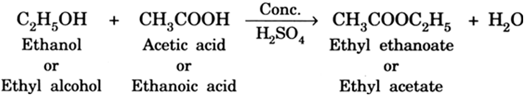 Ethyl alcohol is treated with acetic acid