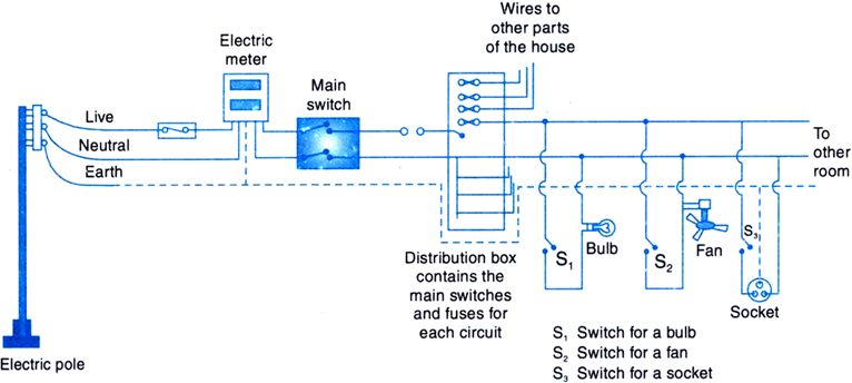 Domestic wiring: A schematic diagram for household electric installation is shown in the figure below:
