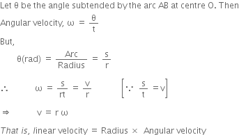 relation between angular velocity and linear velocity