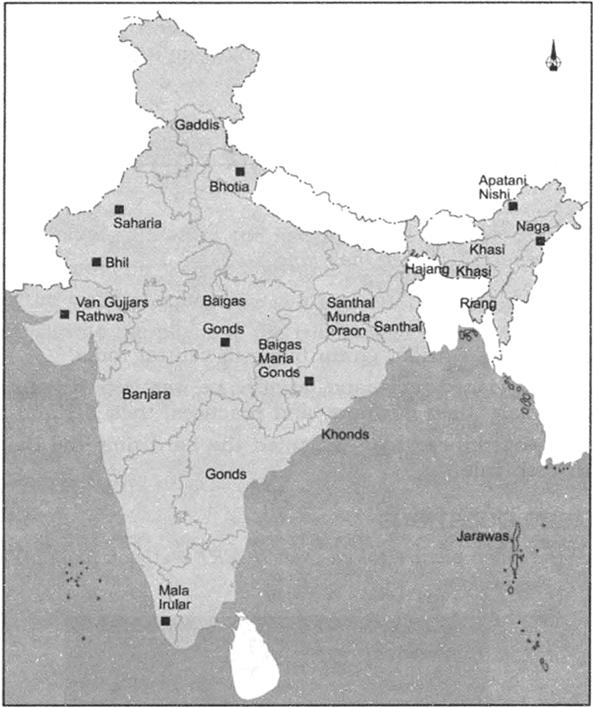 On an outline political map of India, mark the location of ...
