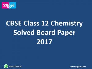 CBSE Class 12 Chemistry Solved Previous Year Board Papers Delhi and All India