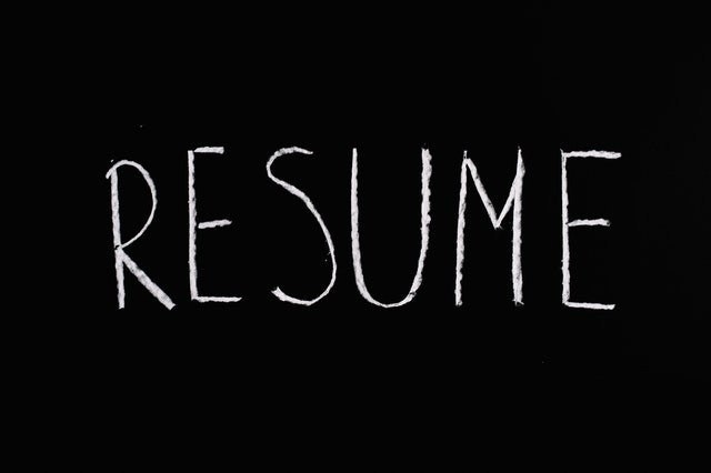 Resume- written on a black paper